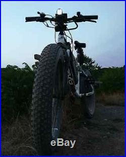 1000W 48V White Fat Tire Electric Bike eBike Hydraulic Brakes Mountain Bike