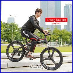 26IN Folding Electric Bike 48V 350W Motor Electric Bicycle Mountain E-Bike J1H7