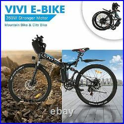 26inch Electric Bikes Mountain Bike Folding Ebike E-Citybike Bicycle 350W-BLACK