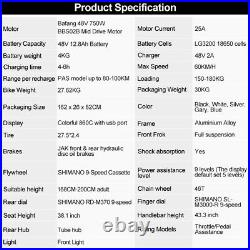 27.5in Electric Mountain Bike 48V 750W BaFang Motor Ebike With 12.8Ah LG Battery