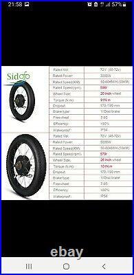 72V 3000W Electric Fat Bike Motor Wheel Hub Motor Kit Ebike Conversion Kit