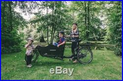 Danish Electric Bakfiets Long John 2 Wheel Cargo Bike 250 Motor and Rain Cover