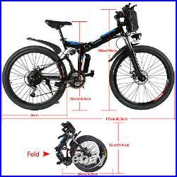 Electric Bikes 26in Mountain Bike Folding E-Citybike Ebike Bicycle 250W 21 Speed