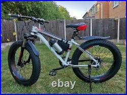 Fat Tyres Electric Bike/E Bike/Mountain Bike & LG Cell Battery Pack white
