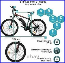 VIVI Electric Bike, 26inch Electric City Bike Mountain Bike Bicycle 350W Motor UK